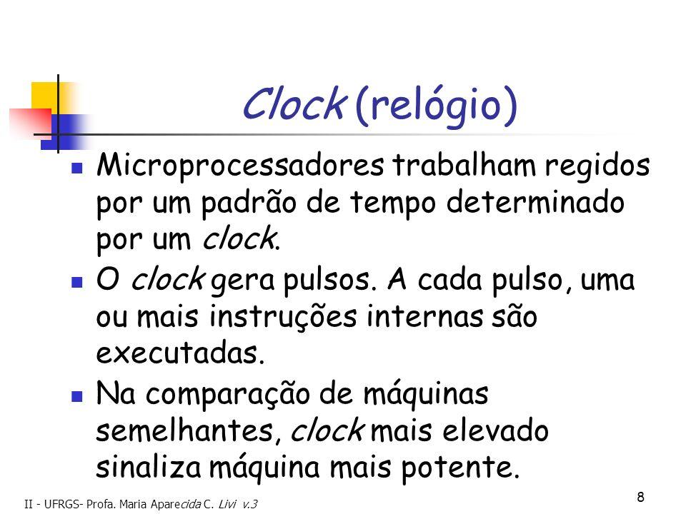 Clock (relógio) Microprocessadores trabalham regidos por um padrão de tempo determinado por um clock.