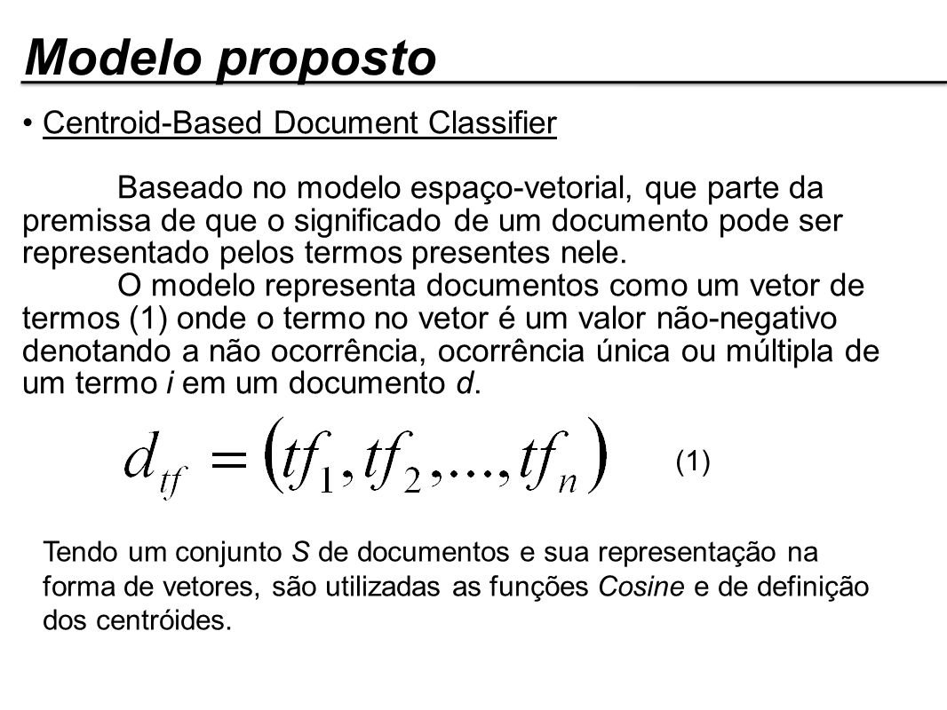 Modelo proposto Centroid-Based Document Classifier