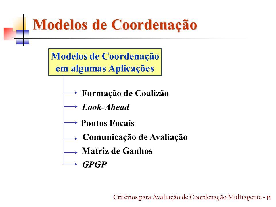 Modelos de Coordenação Comunicação de Avaliação