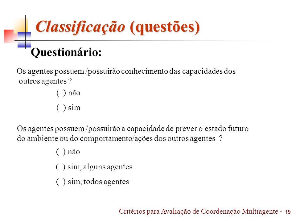 Classificação (questões)