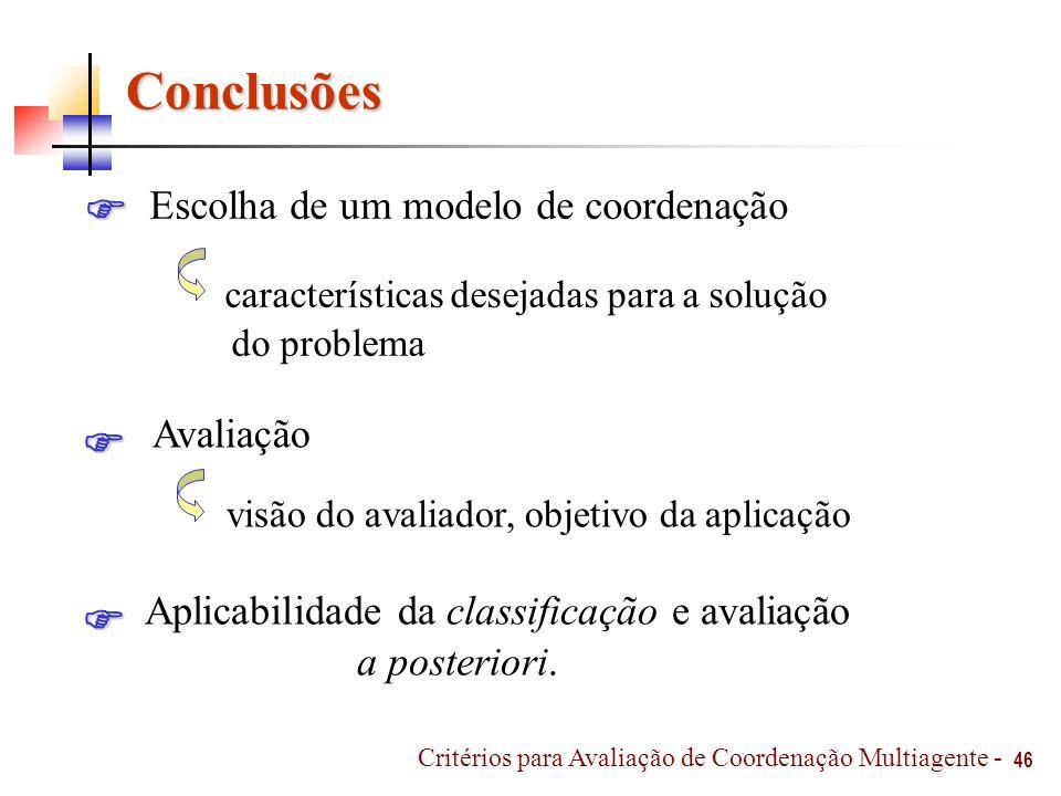 Conclusões Escolha de um modelo de coordenação 