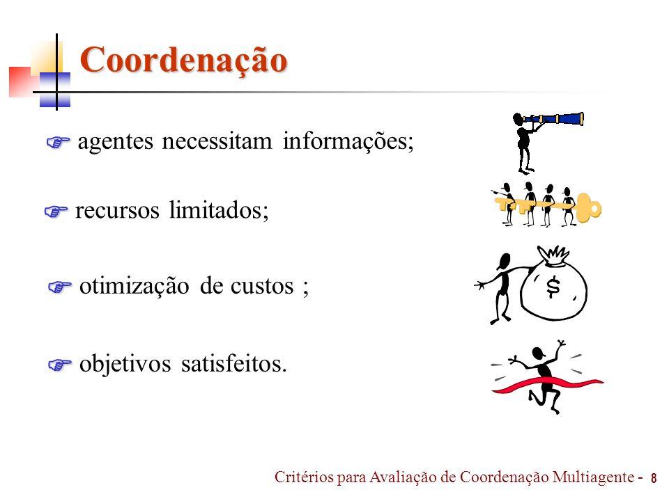 Coordenação agentes necessitam informações;  recursos limitados; 