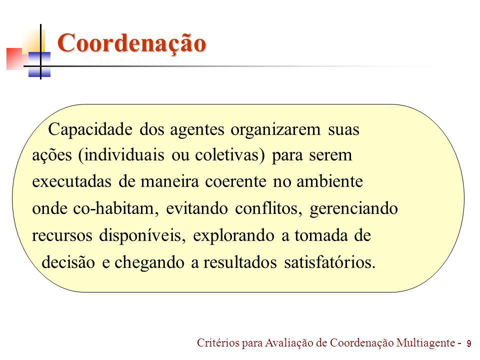 Coordenação Capacidade dos agentes organizarem suas