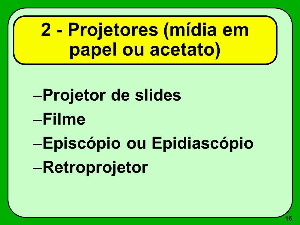 2 - Projetores (mídia em papel ou acetato)