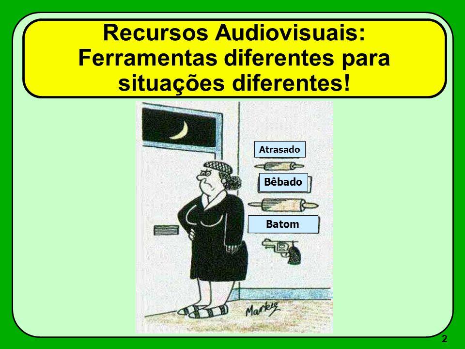 Recursos Audiovisuais: Ferramentas diferentes para situações diferentes!