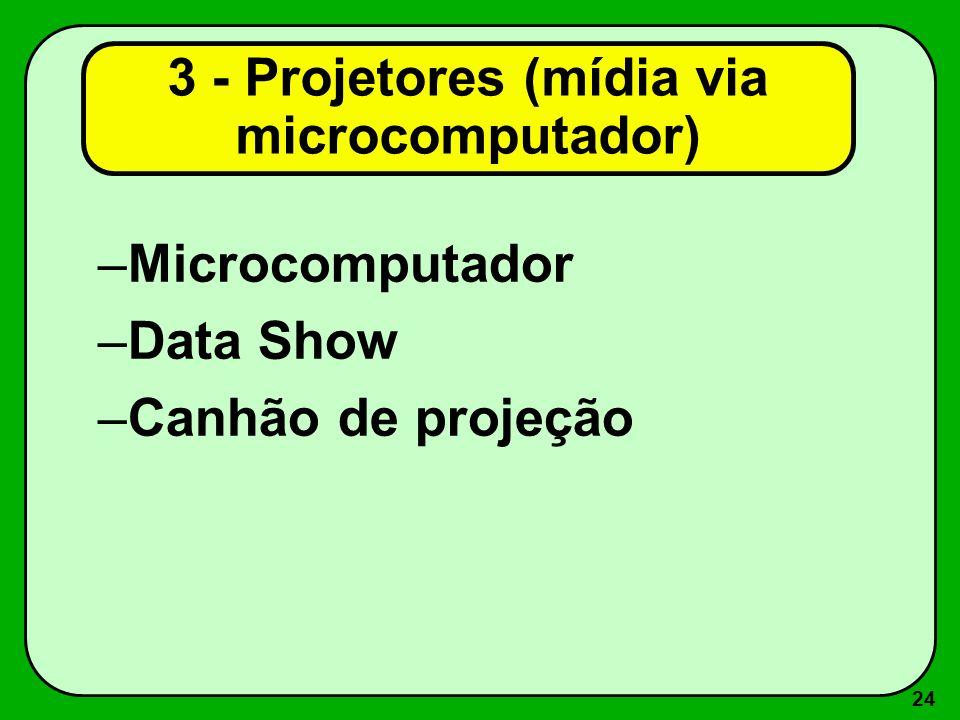 3 - Projetores (mídia via microcomputador)