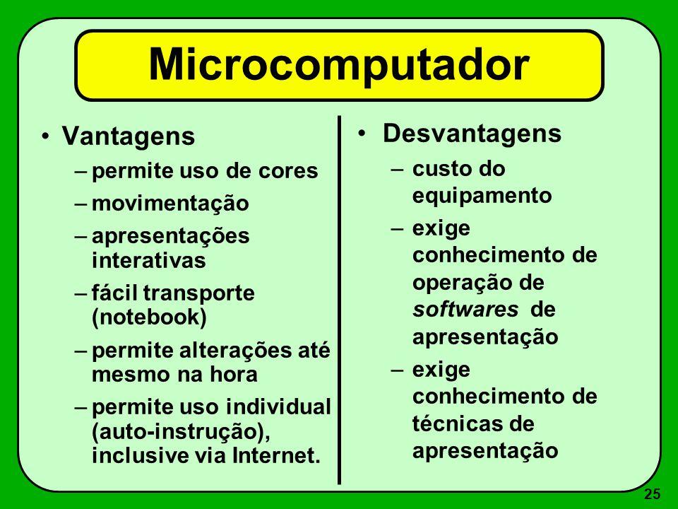 Microcomputador Desvantagens Vantagens custo do equipamento