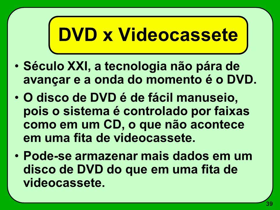 DVD x VideocasseteSéculo XXI, a tecnologia não pára de avançar e a onda do momento é o DVD.