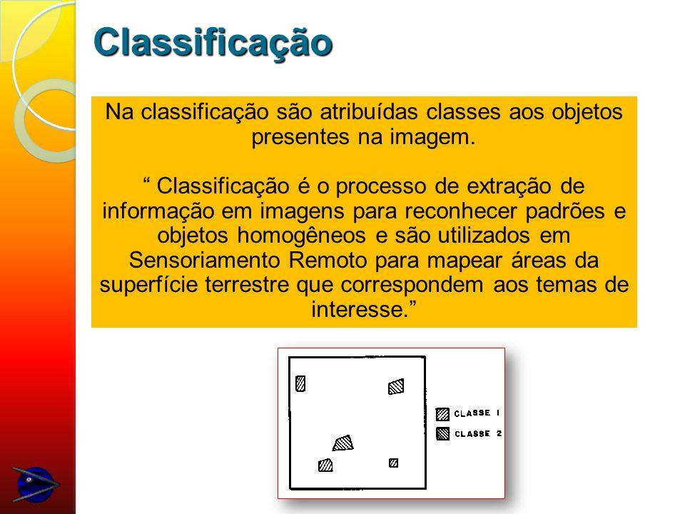 Classificação Na classificação são atribuídas classes aos objetos presentes na imagem.
