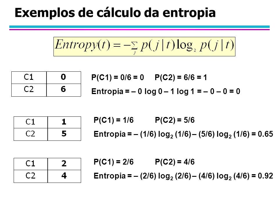 Exemplos de cálculo da entropia