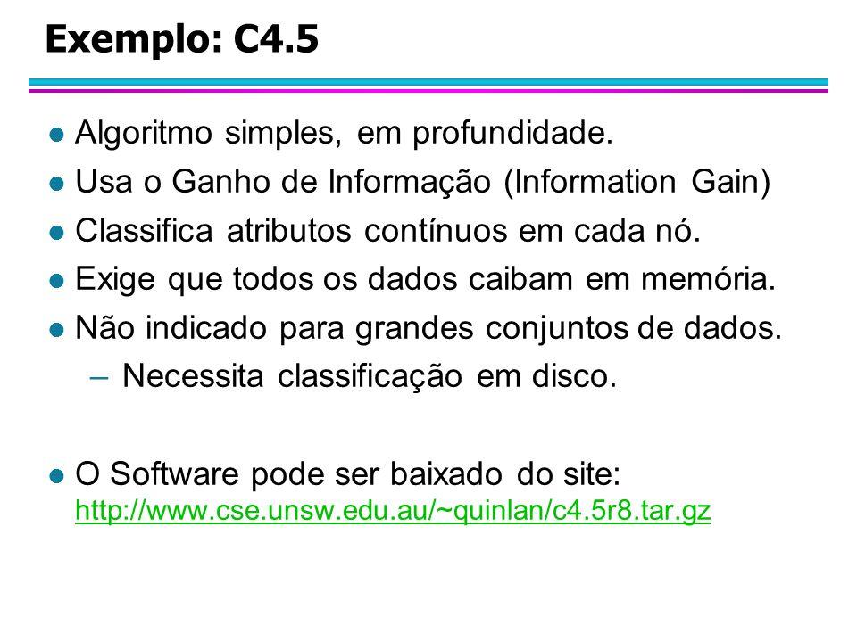Exemplo: C4.5 Algoritmo simples, em profundidade.