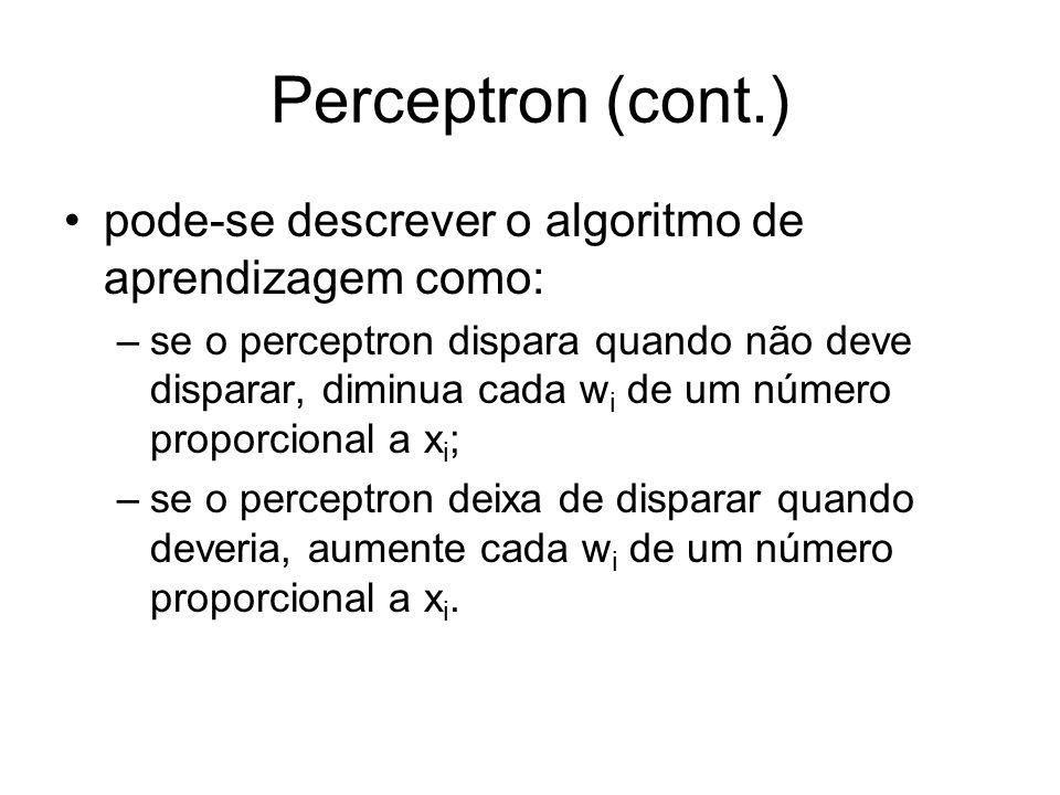 Perceptron (cont.) pode-se descrever o algoritmo de aprendizagem como: