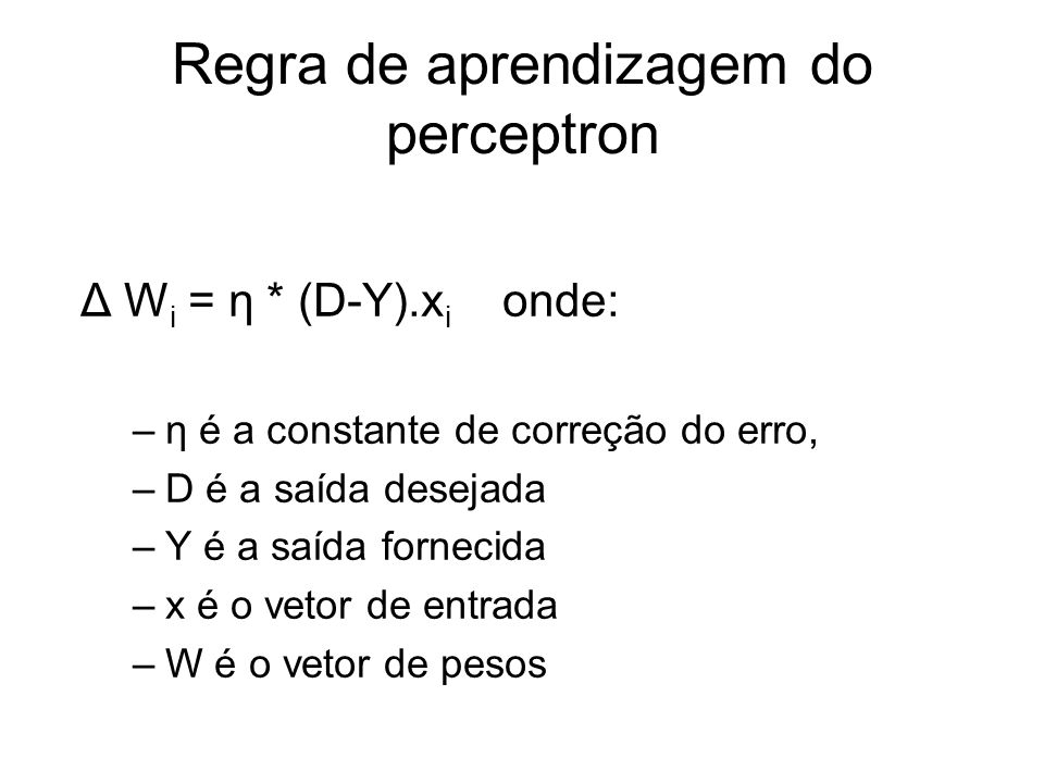 Regra de aprendizagem do perceptron