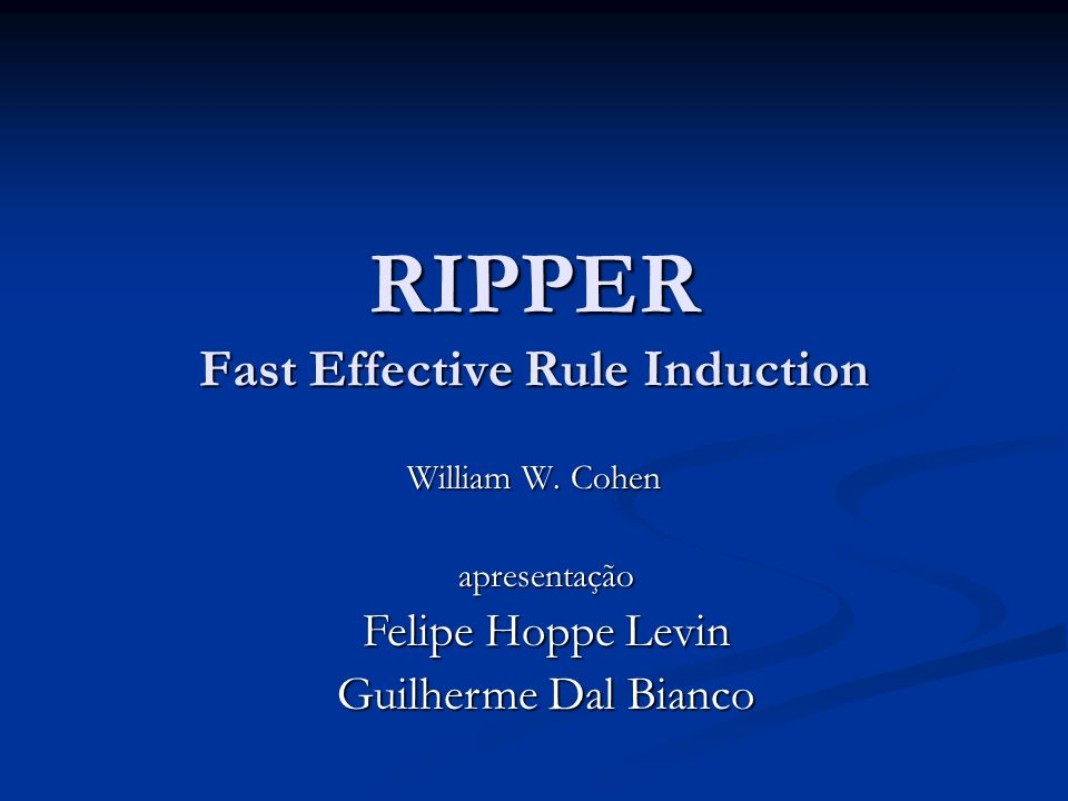 RIPPER Fast Effective Rule Induction