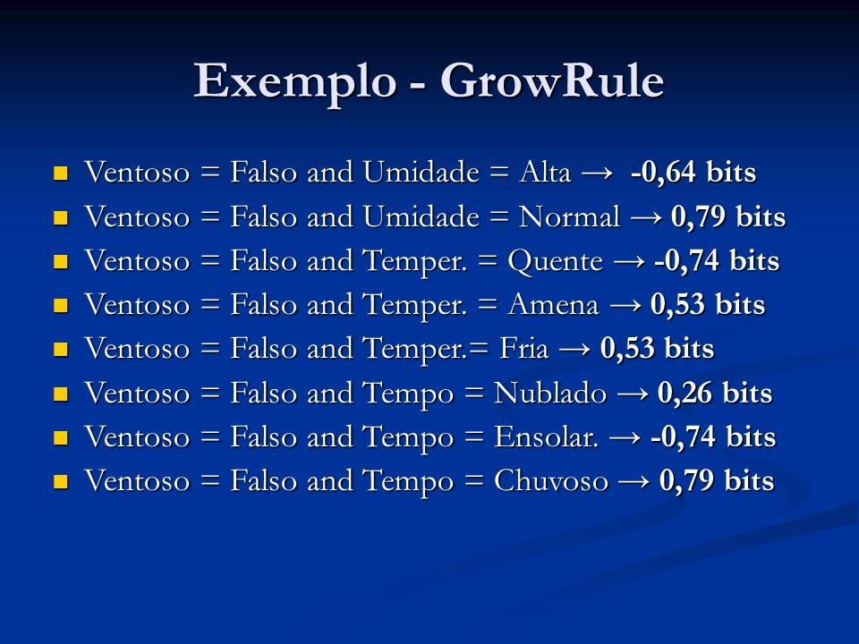 Exemplo - GrowRule Ventoso = Falso and Umidade = Alta → -0,64 bits