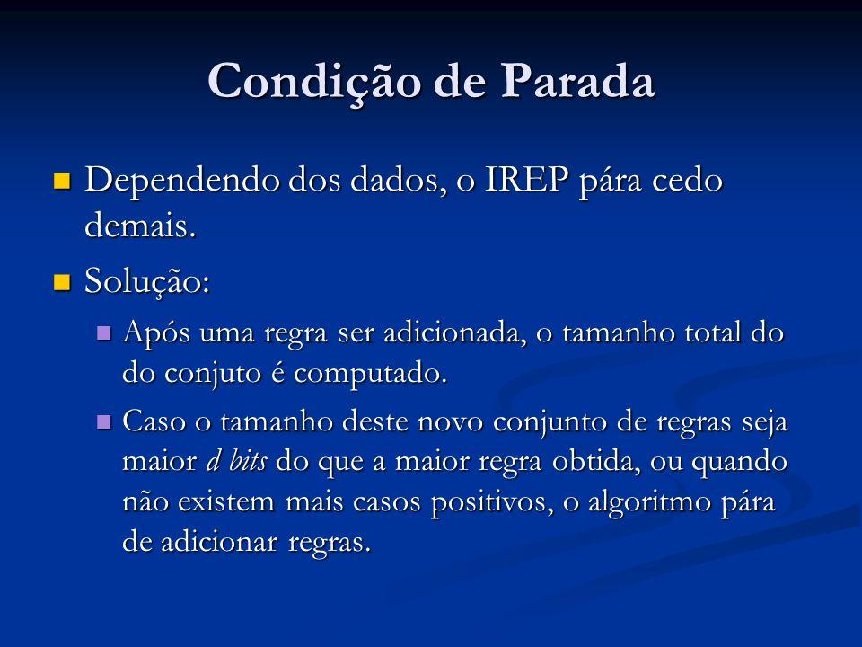 Condição de Parada Dependendo dos dados, o IREP pára cedo demais.