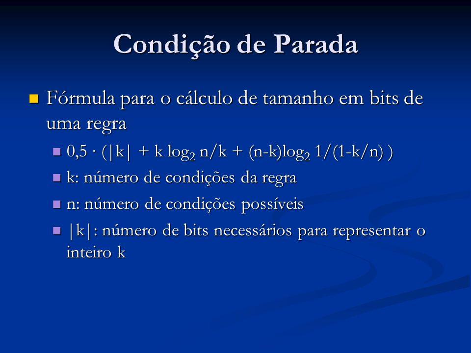 Condição de Parada Fórmula para o cálculo de tamanho em bits de uma regra. 0,5 ∙ (|k| + k log2 n/k + (n-k)log2 1/(1-k/n) )