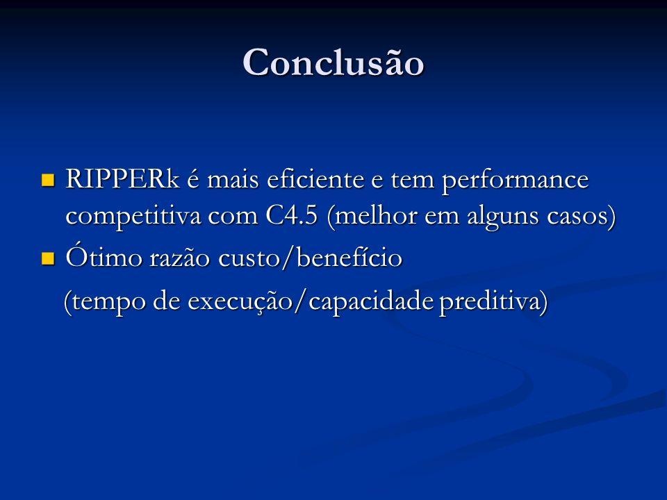 ConclusãoRIPPERk é mais eficiente e tem performance competitiva com C4.5 (melhor em alguns casos) Ótimo razão custo/benefício.