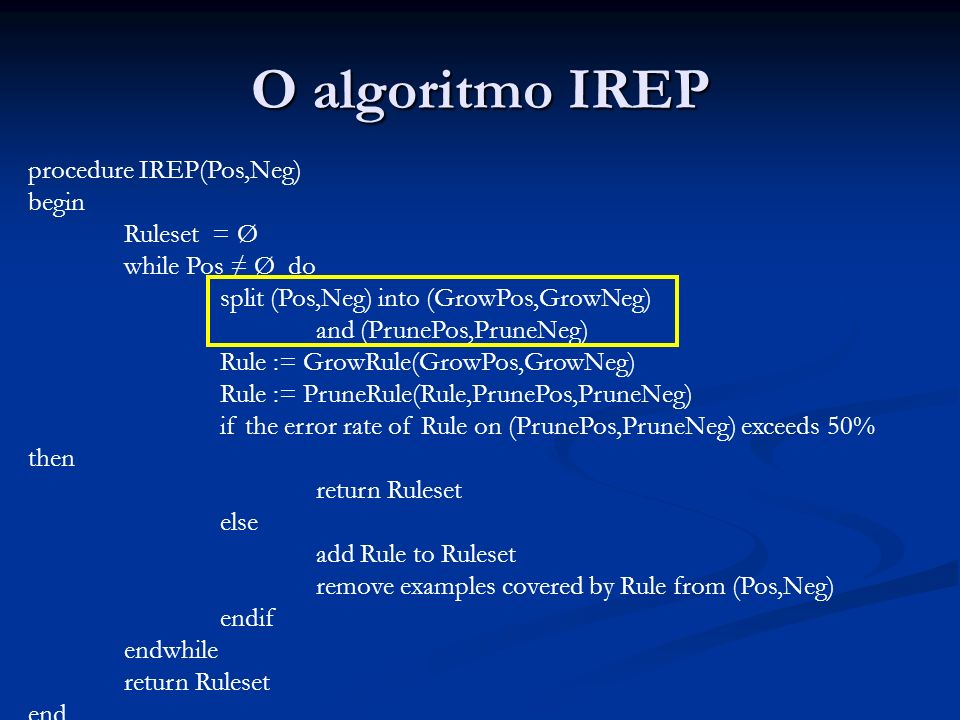 O algoritmo IREP procedure IREP(Pos,Neg) begin Ruleset = Ø