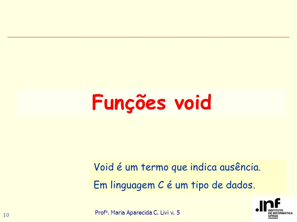 Funções void Void é um termo que indica ausência.