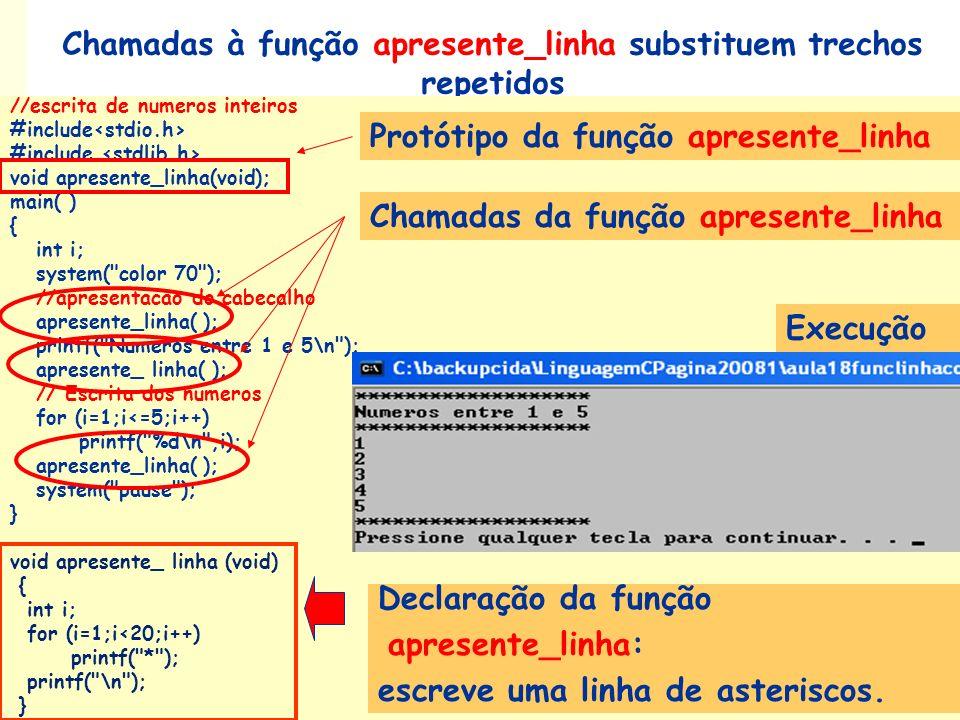 Chamadas à função apresente_linha substituem trechos repetidos