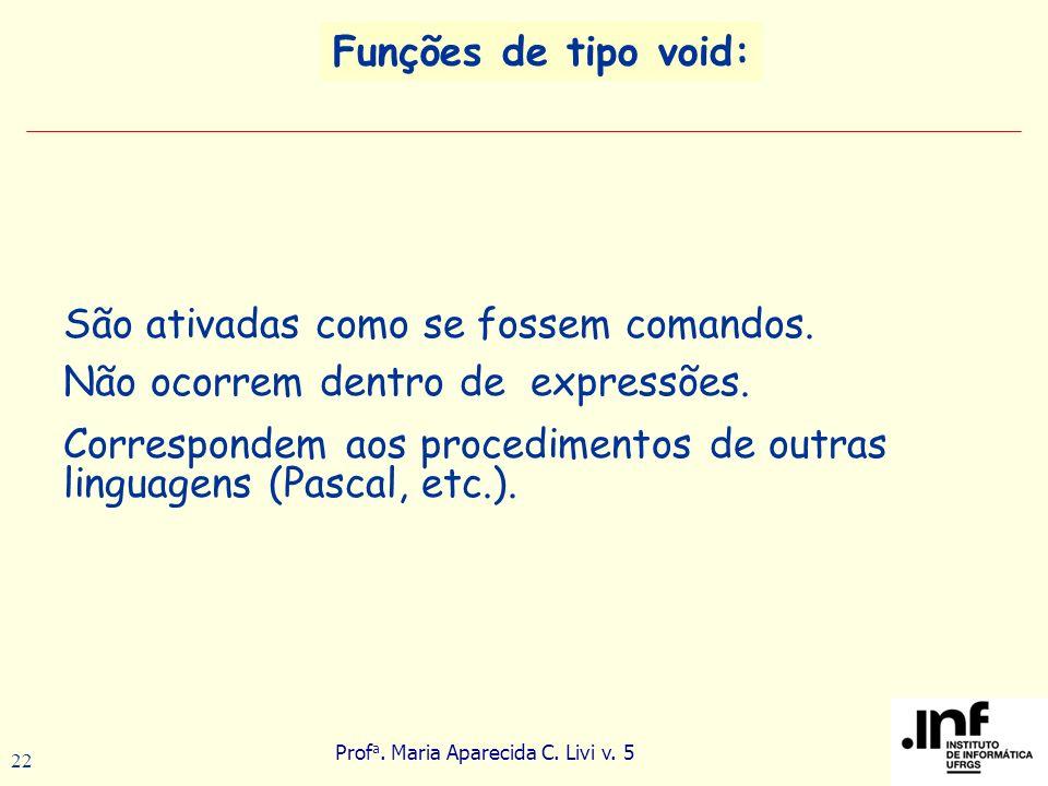 Funções de tipo void: São ativadas como se fossem comandos. Não ocorrem dentro de expressões.