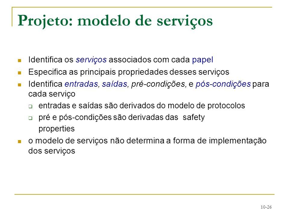 Projeto: modelo de serviços