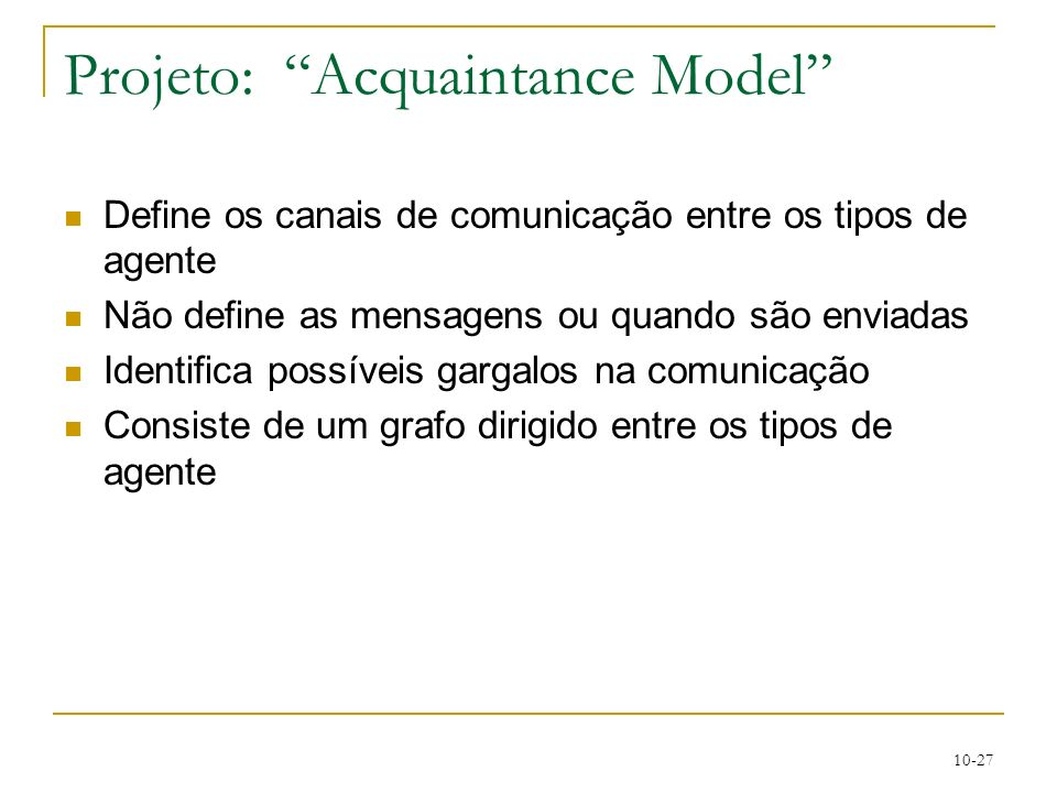 Projeto: Acquaintance Model