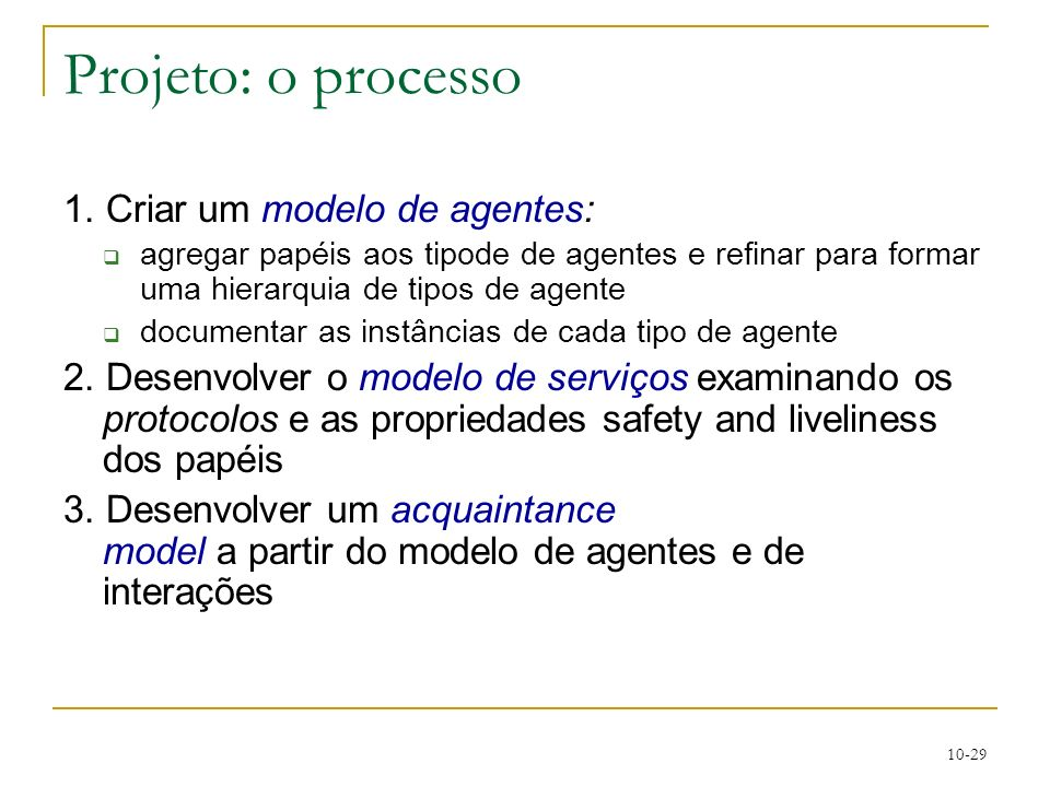 Projeto: o processo 1. Criar um modelo de agentes: