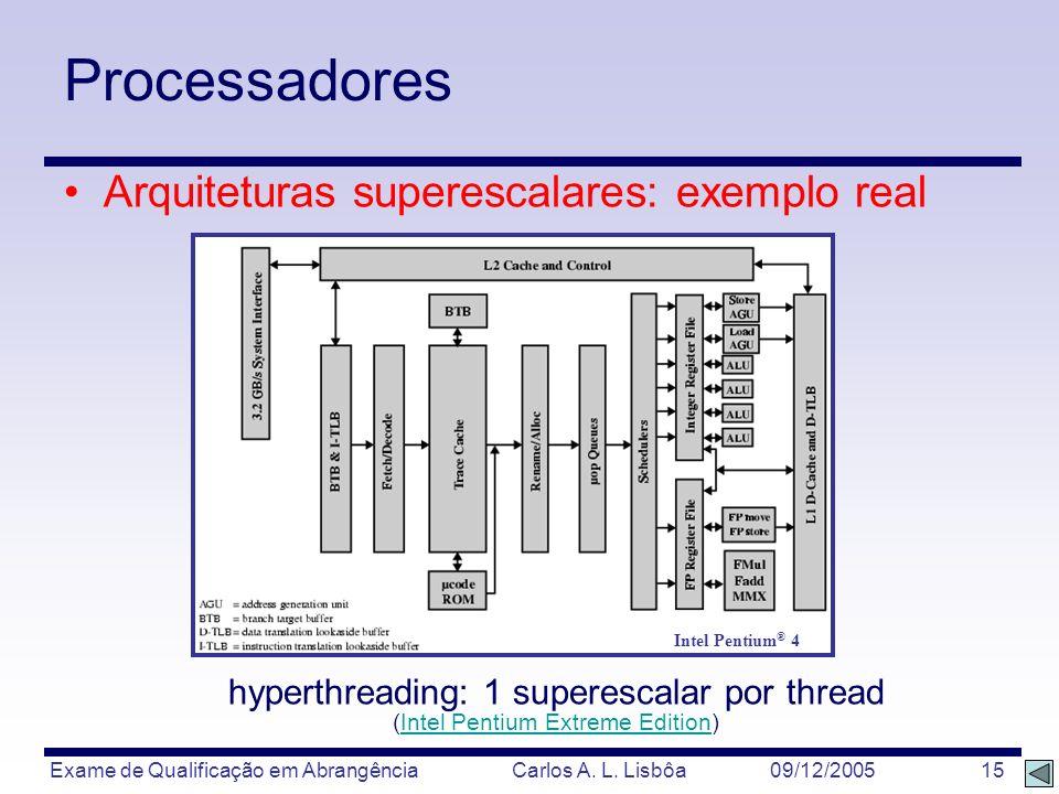 Processadores Arquiteturas superescalares: exemplo real