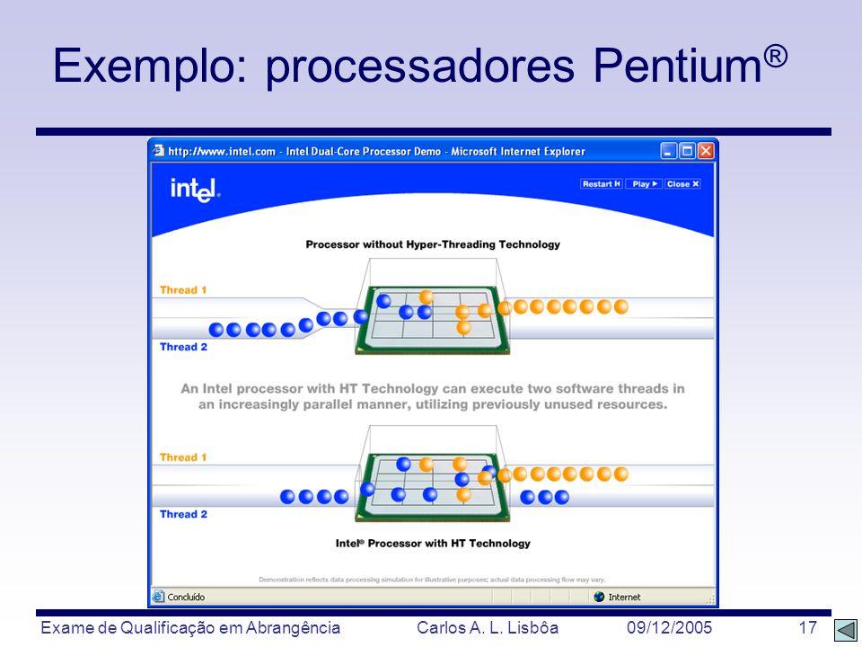 Exemplo: processadores Pentium®