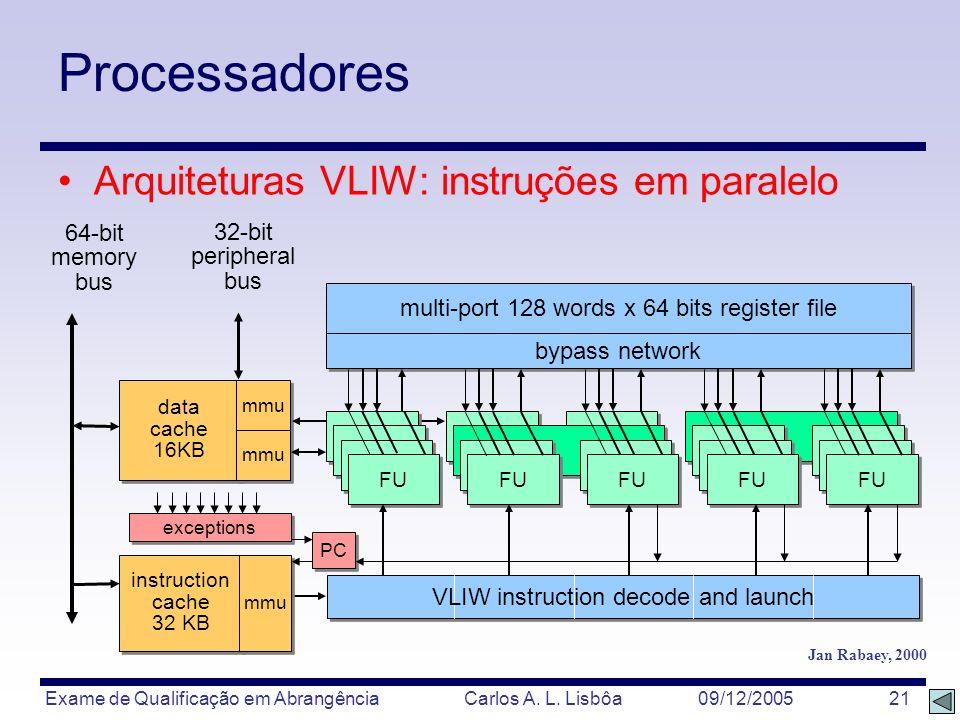 Processadores Arquiteturas VLIW: instruções em paralelo 64-bit 32-bit
