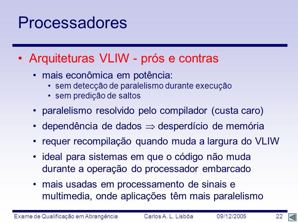 Processadores Arquiteturas VLIW - prós e contras