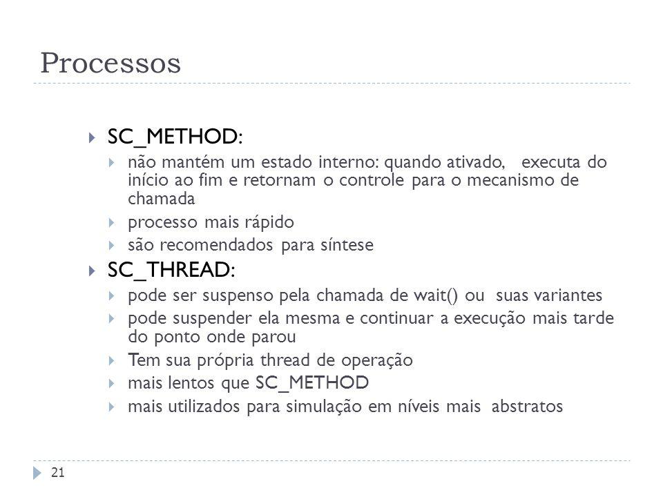 Processos SC_METHOD: SC_THREAD: