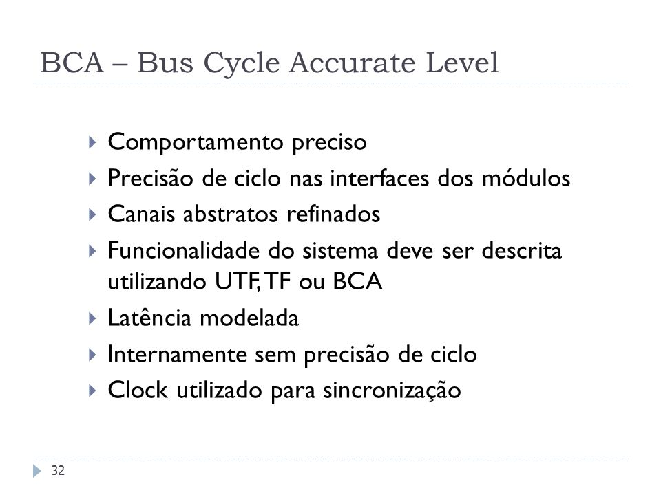 BCA – Bus Cycle Accurate Level