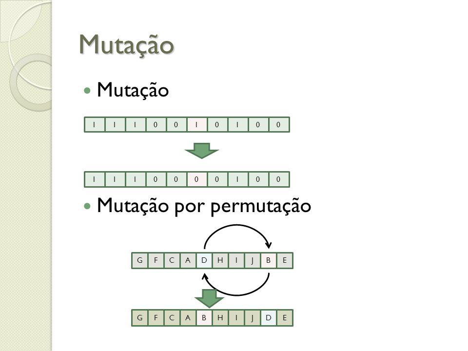 Mutação Mutação Mutação por permutação 1 G F C A D H I J B E