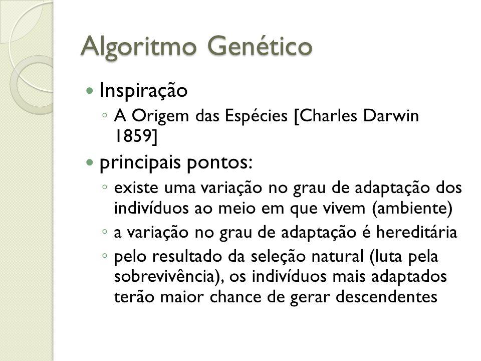 Algoritmo Genético Inspiração principais pontos: