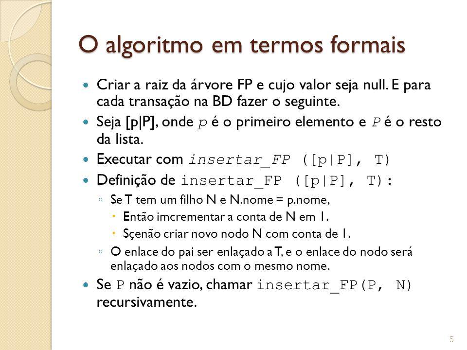 O algoritmo em termos formais