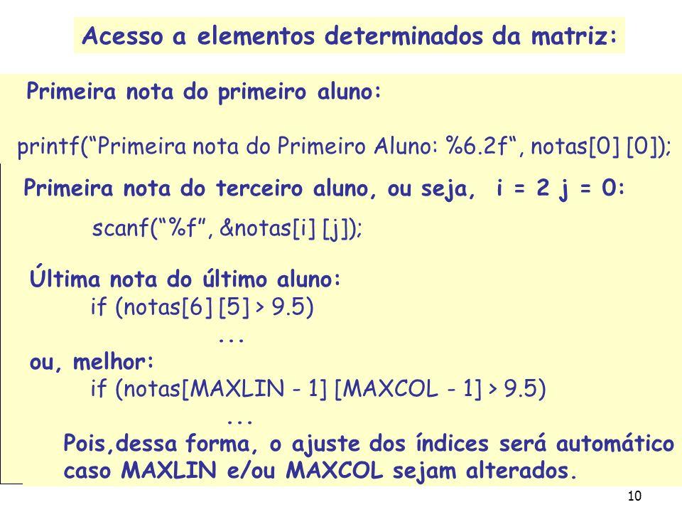 Acesso a elementos determinados da matriz: