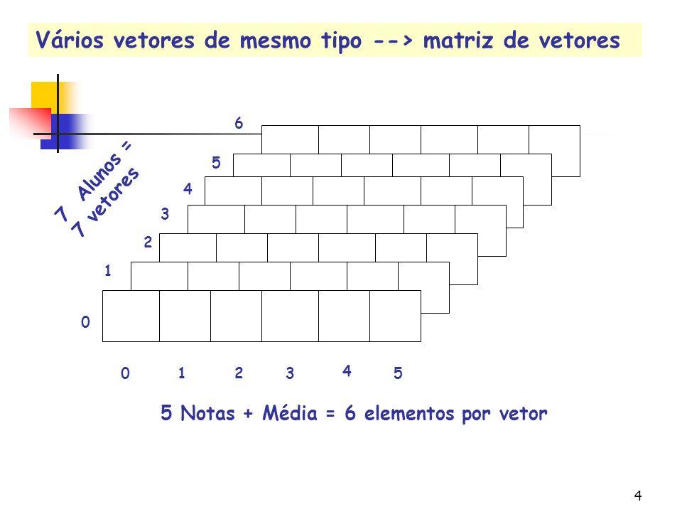 Vários vetores de mesmo tipo --> matriz de vetores