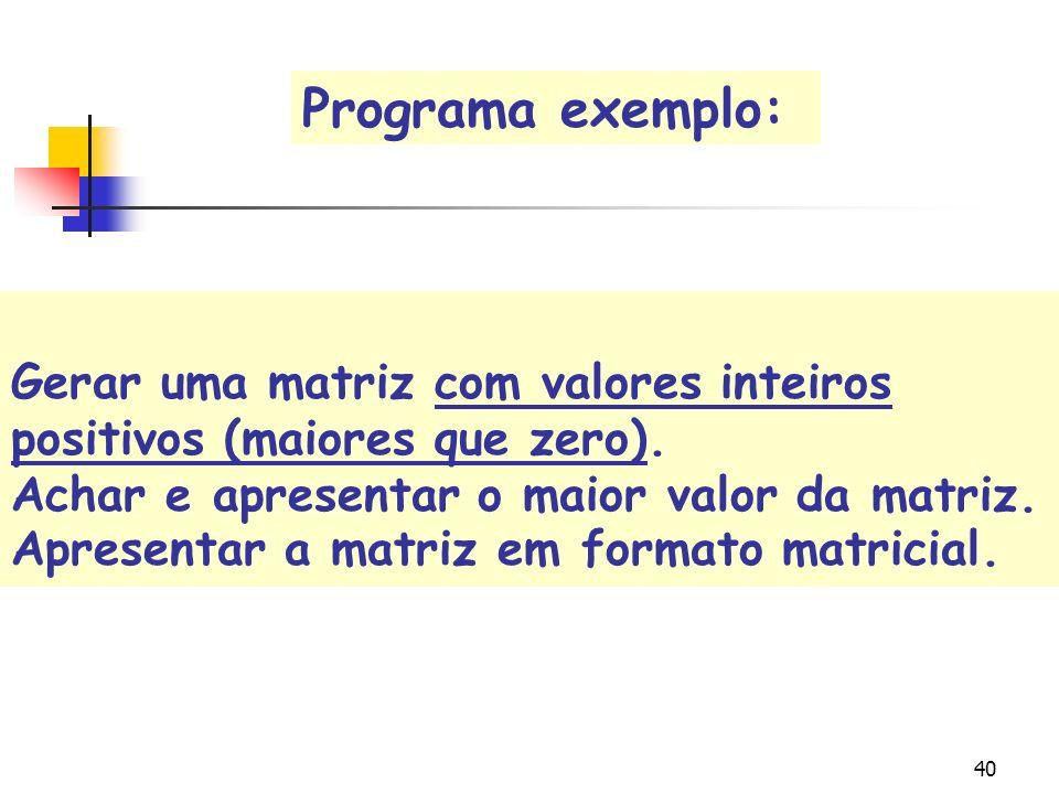 Programa exemplo: Gerar uma matriz com valores inteiros positivos (maiores que zero). Achar e apresentar o maior valor da matriz.