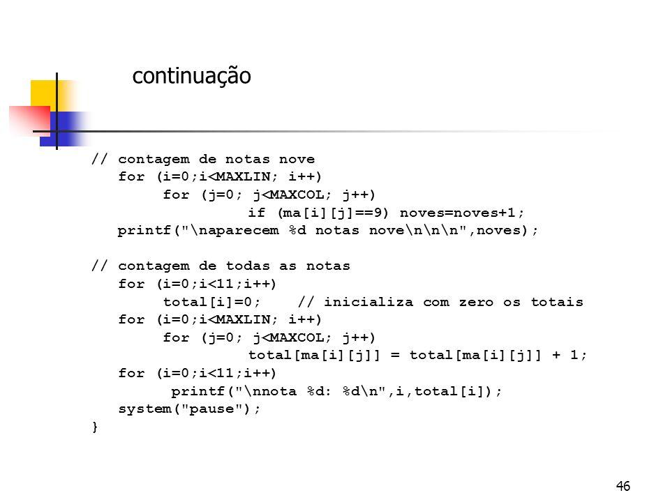 continuação // contagem de notas nove for (i=0;i<MAXLIN; i++)