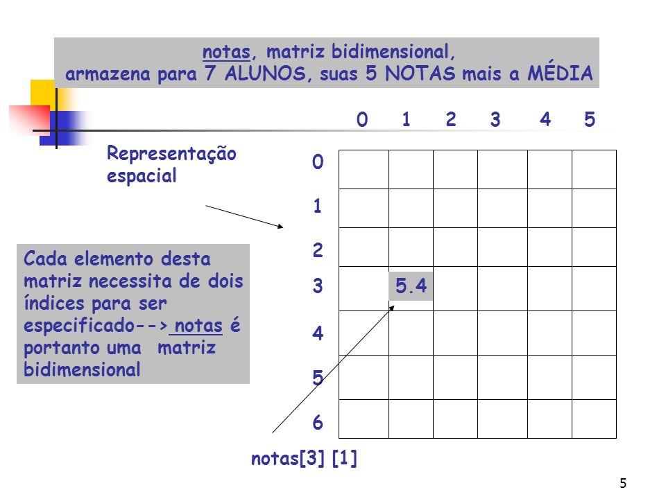 notas, matriz bidimensional,