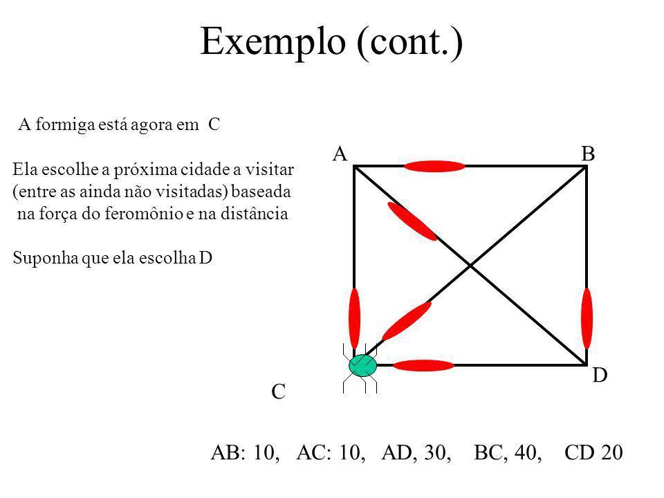Exemplo (cont.) A formiga está agora em C A B D C