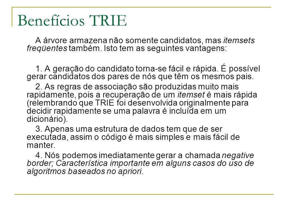 Benefícios TRIE A árvore armazena não somente candidatos, mas itemsets freqüentes também. Isto tem as seguintes vantagens: