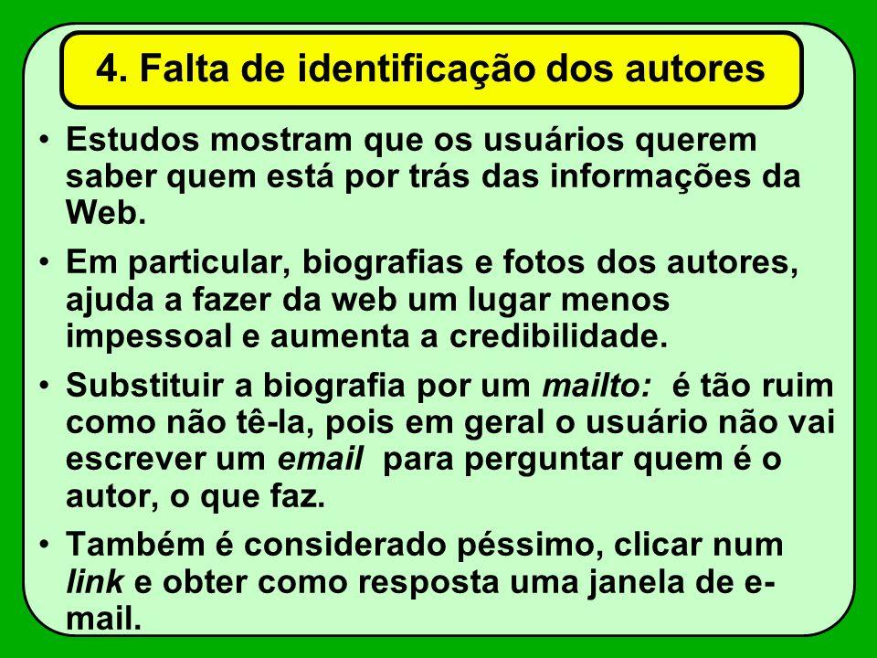 4. Falta de identificação dos autores