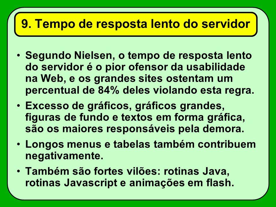 9. Tempo de resposta lento do servidor