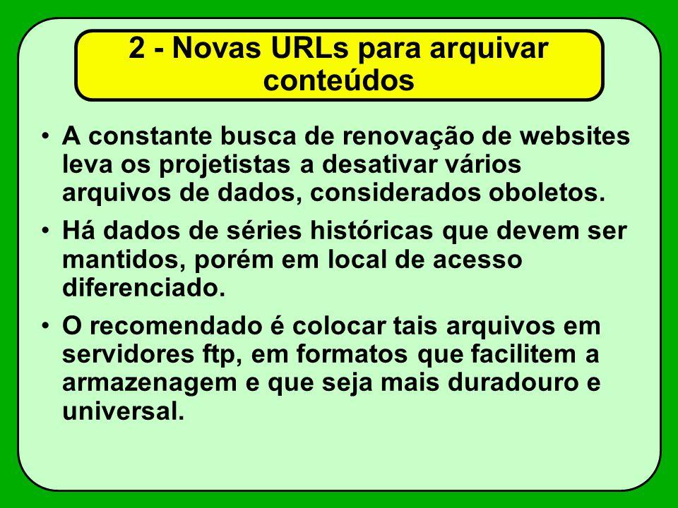 2 - Novas URLs para arquivar conteúdos