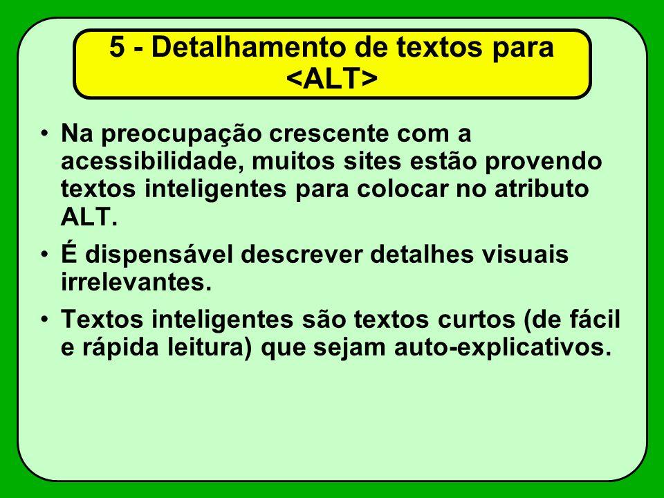 5 - Detalhamento de textos para <ALT>