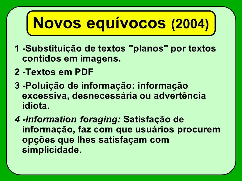 Novos equívocos (2004) 1 -Substituição de textos planos por textos contidos em imagens. 2 -Textos em PDF.